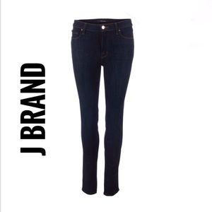 J Brand dark blue denim mid-rise skinny jeans pant